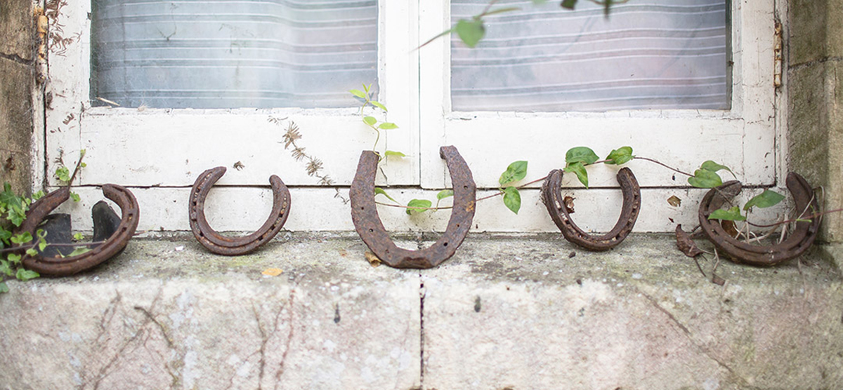 Horse shoes on window ledge at Rainbow Wood Farm, Bath
