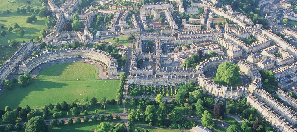 Aerial View of the Circus and Crescent, Bath